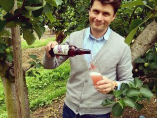 Greg MacNeice of Mac Ivors Cider Co with the new Plum and Ginger range. MGMPR-20160622-WA0005