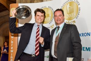 Mac Ivors Cider Co Wins Champion Cider in 2015 - Greg MacNeice picked up the award and is hoping to have the same success in 2017. With Greg is Patrick Redman, BFBi national chairman.