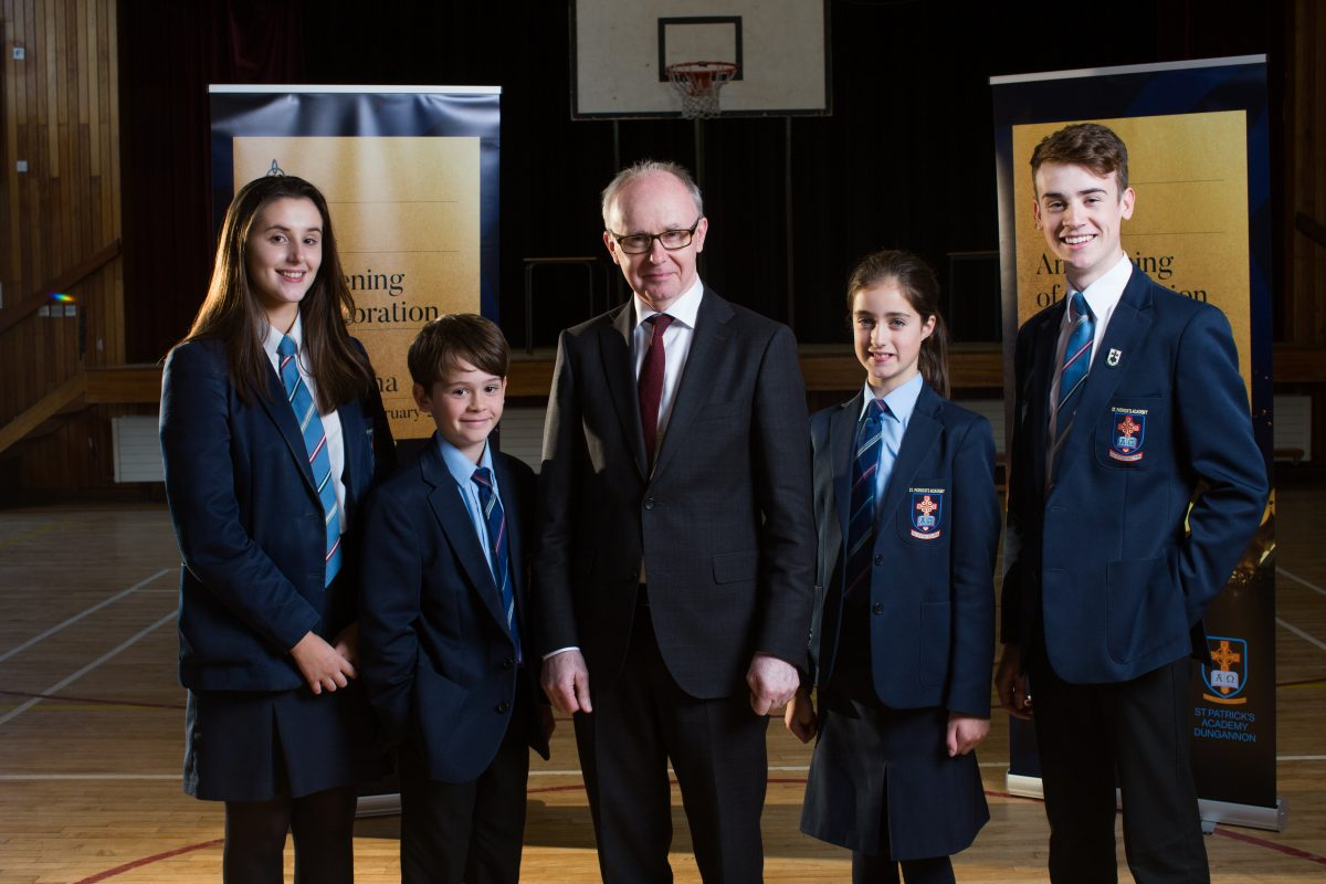 At the Launch of the Evening of Celebration at St Patrick's Academy Dungannon. Here's Principal Fintan Donnelly with pupils fo the school