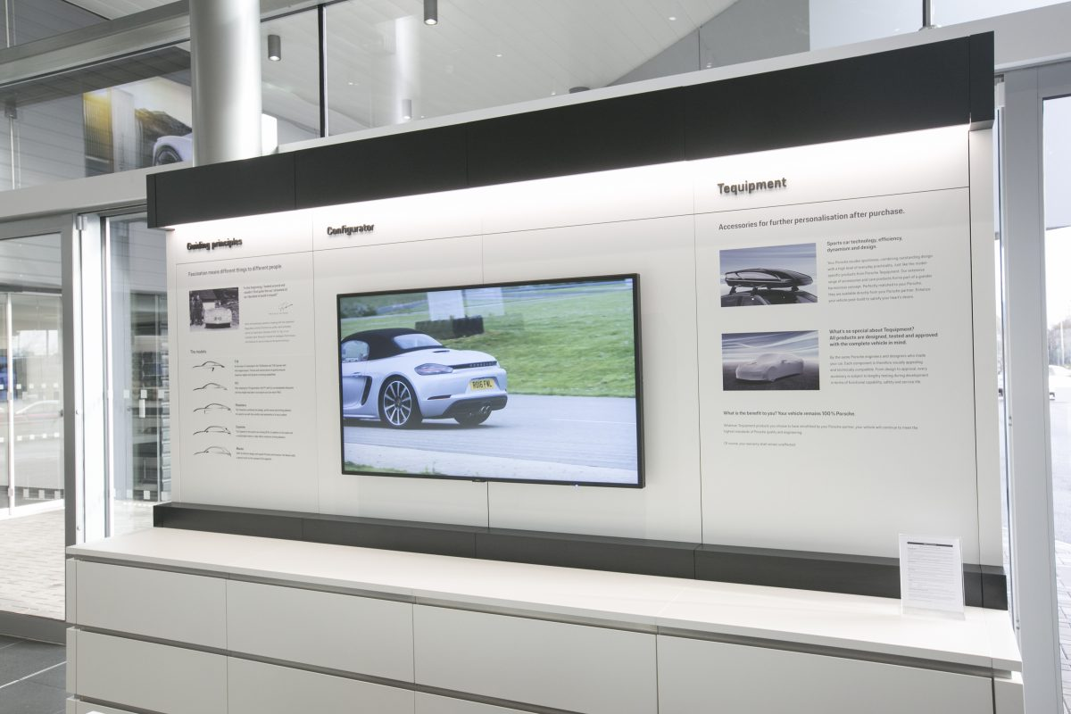 One of the AV screens installed at Porsche Centre Belfast by NIAVAC