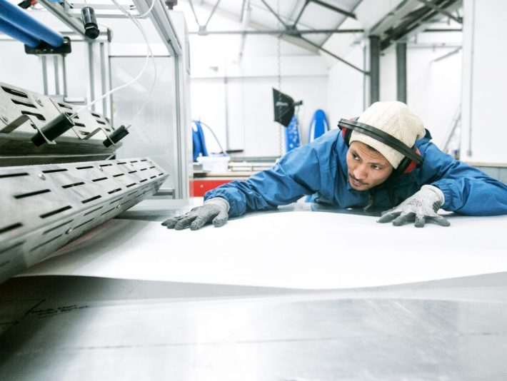 Sunjay working at the Skunkworks Surf Co factory in Colerains. The company are embarking on a Crowdcube campaign.