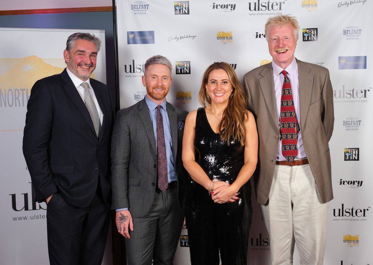 The judges of the Northern Ireland Hotel Awards 2019 are from left; Dr Peter Bolan, sponsor Adam Stockman of The Ivory, sponsor Cate Conway of Quirky Weddings and travel writer, Geoff Hill. XT3N7473