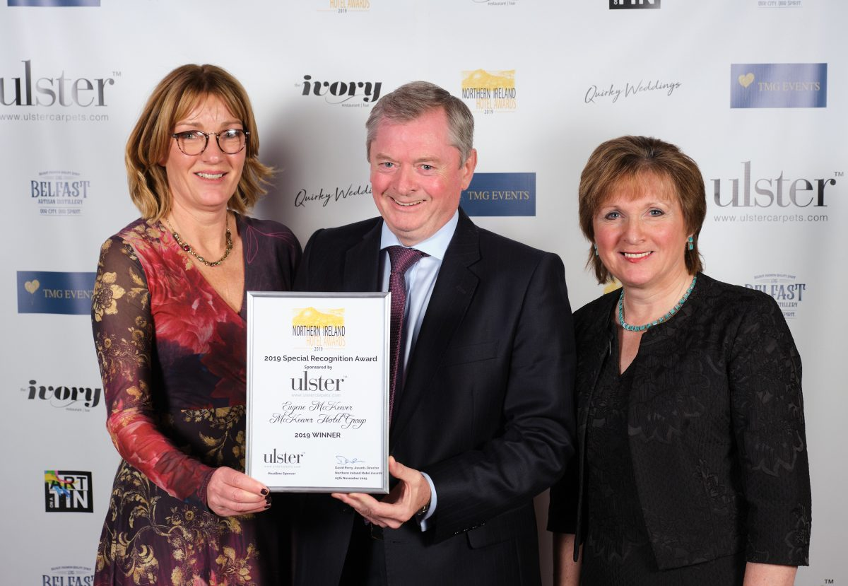 The Ulster Carpets Special Recognition Award at the 2019 NI Hotel Awards was awarded to Eugene McKeever MBE of the McKeever Group of Hotels. Eugene is pictured here with Joyce McIvor from Ulster Carpets and his wife Catherine McKeever. XT3N7617