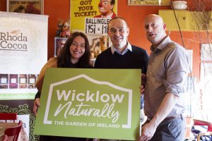Eleanor McGillie of MGMPR with Fred Verdier, manager of Visit Wicklow with Jonathan Birnie of Birnie Consultancy at the launch of Wicklow Naturally