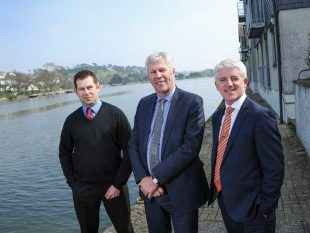 James Barclay, left, Simon Funge, centre, with chairman of Worldwide Financial Planning Peter McGahan, right. wwfp47